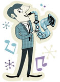 Retro Saxophone Player Stock Images