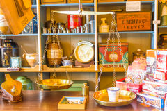 Retro scale and products in an old store, Zaandam, The Netherlands Royalty Free Stock Photo