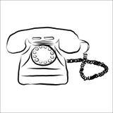 Retro scarabocchio del telefono Fotografia Stock Libera da Diritti