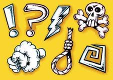 Retro scarabocchio disegnato disegnato a mano del fumetto che maledice Ico Fotografia Stock Libera da Diritti