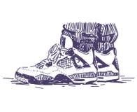 Retro scarpe da tennis di sport disegnate a mano Immagine Stock