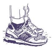 Retro scarpe da tennis disegnate a mano Fotografia Stock Libera da Diritti