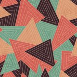 Retro scattered triangle seamless pattern with grunge effect Royalty Free Stock Photo