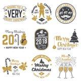 Retro- Schablone der frohen Weihnachten und des guten Rutsch ins Neue Jahr 2018 mit Santa Claus Stockbild