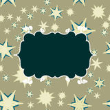 Retro- Schablone Scrapbooking mit Platz für Text für Einladung, Gruß, alles- Gute zum Geburtstagaufkleber, Postkartenrahmen, Baby stock abbildung