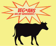 Retro- Schattenbild der Kuh mit Comicsikonen mit vegetarischem Slogan Stockfotografie