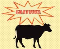 Retro- Schattenbild der Kuh mit Comicsikonen mit vegetarischem Slogan Lizenzfreie Stockfotografie