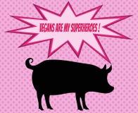 Retro- Schattenbild des Schweins mit Comicsikonen mit vegetarischem Slogan Lizenzfreies Stockbild