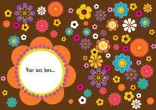 Retro scheda del fiore Fotografie Stock