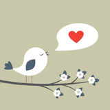 Retro scheda della sorgente con l'uccello sveglio royalty illustrazione gratis