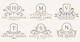 Retro schermi d'annata reali Elementi di lusso di progettazione di logo di vettore Segni di affari, identità, distintivi Immagini Stock Libere da Diritti
