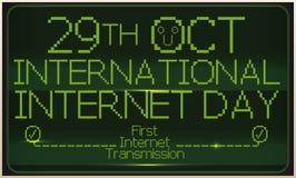 Retro- Schirm, der Erstsendung am internationalen Internet-Tag, Vektor-Illustration gedenkt Lizenzfreie Stockfotografie