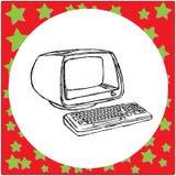 Retro schizzo d'annata dell'illustrazione di vettore del computer disegnato a mano royalty illustrazione gratis