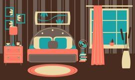 Retro- Schlafzimmer in der flachen Art Stockfotografie