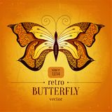 Retro- Schmetterlingsvektor-Fahnendesign weinlese Lizenzfreie Stockfotografie