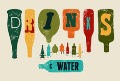 Retro- Schmutzplakat Getränke und Wasser Sammlung lustige Flaschen Auch im corel abgehobenen Betrag Lizenzfreie Stockfotos