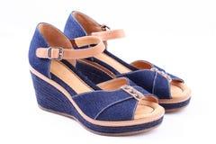 Retro schoenen van jeans Royalty-vrije Stock Fotografie