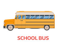 Retro School Bus Illustration. Old style yellow omnibus illustration. American commuter autobus. Vector school bus  on white background. Retro coach Royalty Free Stock Images