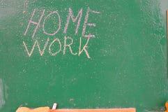 Retro school theme, desk with chalk writing Stock Photography