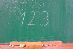 Retro school theme, desk with chalk writing Stock Photos