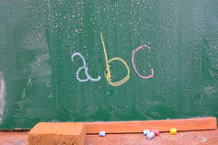 Retro school theme, desk with chalk writing Royalty Free Stock Photo