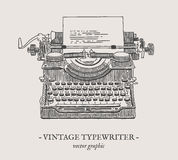 Retro- Schreibmaschinenvektor-Weinleseillustration Lizenzfreie Stockfotos