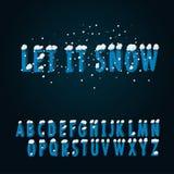 Retro- Schriftart mit Schnee Stockbilder
