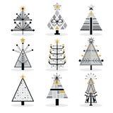 Retro- schwarze, graue und goldene modische lokalisierte Pop-Art Weihnachtsbaumikonen eingestellt vektor abbildung
