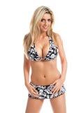 Retro- Schwarzweiss-Bikini-Blondine lizenzfreies stockbild