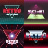 Retro sci fi background set. Set of vhs design covers. Retro style. Vector EPS10 Stock Photos