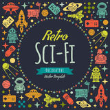 Retro Sci-Fi vector decorating design Stock Photo