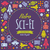 Retro Sci-Fi vector decorating design Royalty Free Stock Image