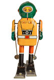 Retro sciatore del robot isolato su bianco Immagine Stock Libera da Diritti