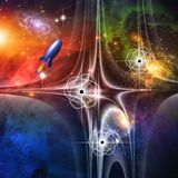 Retro Science Fiction Art. Retro Science Fiction Style Art Stock Photography