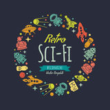 Retro science fictionvektor som dekorerar design vektor illustrationer