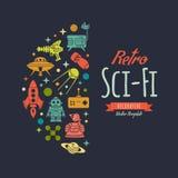 Retro science fictionvektor som dekorerar design royaltyfri illustrationer