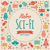 Retro science fictionvektor som dekorerar design stock illustrationer