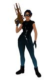 Retro scifi girl with large hand gun. Retro style science fiction female soldier in blue latex body suit and goggles holding brass and copper ray gun Royalty Free Stock Photography