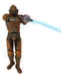Retro scifi storm trooper firing raygun. Retro style science fiction soldier in battered body armour firing plasma beam weapon Royalty Free Stock Image