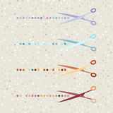 Retro scissors and cut lines set on polka dot Royalty Free Stock Photo