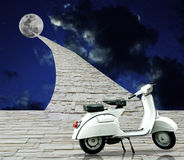 Retro scooter parking with way to moon Stock Photo