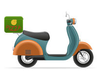 Retro scooter for pizza delivery vector illustration Stock Images