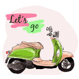 Retro scooter vector illustration. Stock Images