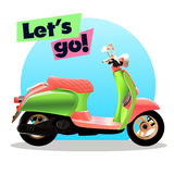 Retro scooter vector illustration. Royalty Free Stock Photography