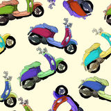 Retro scooter vector seamless pattern Stock Photos