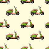 Retro scooter vector seamless pattern Royalty Free Stock Image