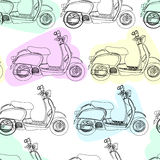 Retro scooter vector seamless pattern Stock Images
