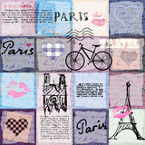 Retro scrapbook collage Paris. Royalty Free Stock Photography