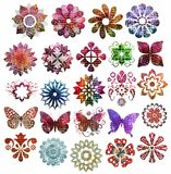 Retro scrapbook element. Set of retro flowers, butterflies and ornaments for your scrapbook Stock Image