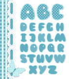 Retro scrapbook font blue color. Cartoon alphabet from a to z. Editable vector set Stock Image